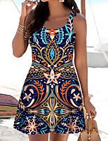 cheap -Women's A Line Dress Short Mini Dress Navy Blue Sleeveless Print Color Block Print Spring Summer Boat Neck Casual 2021 S M L XL XXL 3XL