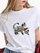 cheap -Women's T shirt Cat Animal Print Round Neck Tops 100% Cotton Basic Basic Top White Blue Green
