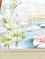 cheap -Cartoon Lotus Pond Pattern Matte Window Film Cling Vinyl Thermal-Insulation Privacy Protection Home Decor For Window Cabinet Door Sticker / Window Sticker 60*58CM