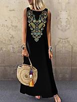 cheap -Women's Shift Dress Maxi long Dress Black Sleeveless Print Color Block Print Spring Summer Round Neck Elegant Casual 2021 S M L XL XXL 3XL