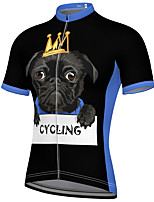cheap -21Grams Men's Short Sleeve Cycling Jersey Spandex Black Animal Bike Top Mountain Bike MTB Road Bike Cycling Breathable Quick Dry Sports Clothing Apparel / Athleisure