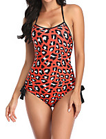 cheap -Women's One Piece Swimsuit Swimwear Bodysuit Breathable Quick Dry Sleeveless Swimming Surfing Water Sports Leopard Summer