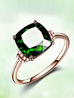 cheap -18k rose gold-plated emerald green gemstone ring, simple inlaid green tourmaline crystal ring female jewelry