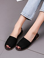 cheap -Women's Sandals Flat Heel Round Toe PU Color Block White Black Pink