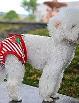 cheap -Dog Pants Fruit Stripes Dailywear Dog Clothes Puppy Clothes Dog Outfits Soft Red and White Costume for Girl and Boy Dog Cotton L XL