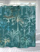 cheap -Cyan Coconut Tree Digital Printing Shower Curtain Shower Curtains Hooks Modern Polyester New Design