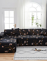 cheap -Black Floral Butterfly Dustproof All-powerful  Stretch L Shape Sofa Cover Super Soft Fabric Sofa Furniture Protector with One Free Boster Case