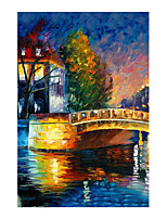 cheap -IARTS Hand Painted Night view Oil Painting with Stretched Frame For Home Decoration