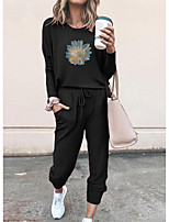 cheap -Women Basic Streetwear Floral Vacation Casual / Daily Two Piece Set Tracksuit T shirt Pant Loungewear Drawstring Print Tops