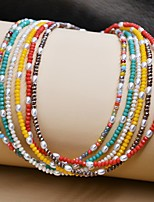 cheap -Women's Choker Necklace Necklace Handmade Dainty European Sweet Boho Crystal Imitation Pearl Alloy White Red Yellow Green Coffee 30-50 cm Necklace Jewelry 1pc For Party Evening Street Prom Birthday