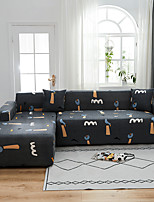 cheap -Dark Gray Cartoon Print Dustproof All-powerful  Stretch L Shape Sofa Cover Super Soft Fabric Sofa Furniture Protector with One Free Boster Case