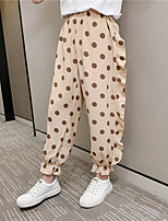 cheap -Kids Girls' Pants Black Polka Dot 1 PC Ruffle Black Khaki Cute 4-13 Years