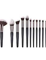 cheap -eyeshadow brush,  fan shape wood handle powder foundation eye shadow makeup brushes set(12pcs)