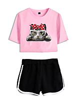 cheap -Women's Basic Streetwear Cat Vacation Casual / Daily Two Piece Set Crop Top Tracksuit T shirt Loungewear Shorts Print Tops