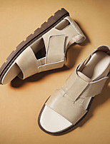 cheap -Men's Sandals Casual Beach Roman Shoes Daily Walking Shoes Nappa Leather Breathable Non-slipping Wear Proof Black Khaki Summer