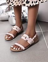 cheap -Women's Sandals Flat Heel Faux Leather Almond Black Pink