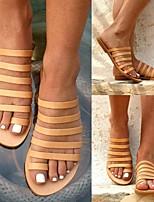 cheap -Women's Sandals Boho Bohemia Beach Roman Shoes Gladiator Sandals Flat Heel Round Toe PU Solid Colored Light Brown Black Gold