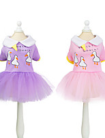 cheap -Dog Cat Dress Animal Cute Sweet Dailywear Casual / Daily Dog Clothes Puppy Clothes Dog Outfits Breathable Purple Pink Costume for Girl and Boy Dog Padded Fabric Polyester XS S M L XL