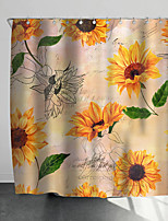cheap -Shower Curtains with Hooks Sunflower Plant Scenery Polyester Novelty Fabric Waterproof Shower Curtain for Bathroom