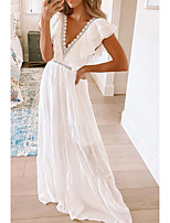 cheap -2021 european and american spring and summer new short-sleeved dress female amazon foreign trade white lace v-neck long skirt