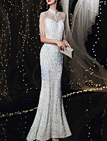 cheap -Mermaid / Trumpet Sparkle Sexy Prom Formal Evening Dress Illusion Neck 3/4 Length Sleeve Floor Length Sequined with Sequin Tassel Appliques 2021
