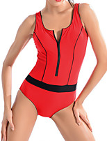 cheap -Women's One Piece Swimsuit Spandex Swimwear Bodysuit Breathable Quick Dry Sleeveless Front Zip - Swimming Surfing Water Sports Summer