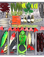 cheap -94 pcs Lure kit Fishing Lures Hard Bait Soft Bait Spoons Minnow Pencil Popper Vibration / VIB lifelike Bass Trout Pike Sea Fishing Lure Fishing Freshwater and Saltwater