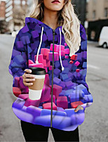 cheap -Women's Jackets 3D Print Print Casual Fall Jacket Regular Daily Long Sleeve Air Layer Fabric Coat Tops Purple