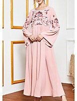 cheap -Women's Kaftan Dress Maxi long Dress Blushing Pink Long Sleeve Print Ruched Print Summer Round Neck Casual 2021 M L XL XXL 3XL 4XL