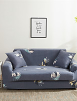 cheap -Blue Leaves Print Dustproof All-powerful Stretch Sofa Cover Super Soft Fabric  with One Free Boster Case