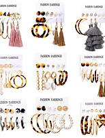cheap -earring set acrylic faux pearl circle tassel earring set 6-piece set earrings
