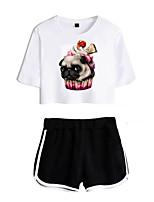 cheap -Women's Basic Streetwear Animal Vacation Casual / Daily Two Piece Set Crop Top Tracksuit T shirt Loungewear Shorts Print Tops