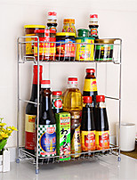 cheap -Seasoning Rack Kitchen Organize Shelf for Kitchen Double-Layer Stainless Steel with Knife Cutting Board Rack with Hook