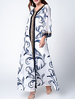 cheap -Women's Kaftan Dress Maxi long Dress White Black Green Long Sleeve Print Solid Color Patchwork Fall Spring Round Neck Casual 2021 S M L