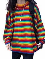 cheap -gwxevce women teens autumn long sleeve knitted sweaters korean harajuku rainbow stripes patchwork loose jumper pullover tunic tops