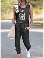 cheap -Women Basic Streetwear Cat Butterfly Animal Vacation Casual / Daily Two Piece Set Tank Top Tracksuit Pant Loungewear Jogger Pants Drawstring Print Tops