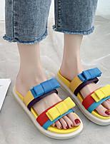 cheap -Women's Sandals Wedge Heel Round Toe Synthetics Bowknot Black Yellow Green