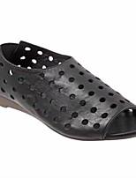 cheap -Women's Sandals Boho Bohemia Beach Flat Heel Round Toe PU Dark Brown Black Pink