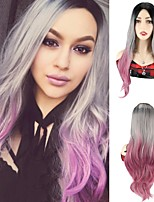 cheap -Ombre Colorful Wigs Synthetic Hair Wig Party Cosplay Wigs Body Wave Silky Wavy Synthetic Wigs Grey Pink Wigs For Black Women