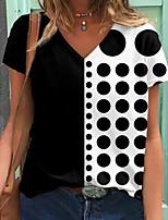 cheap -Women's T shirt Polka Dot Color Block Print V Neck Tops Basic Basic Top Black