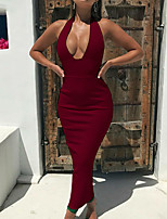 cheap -Women's A Line Dress Maxi long Dress White Black Blushing Pink Wine Sleeveless Solid Color Backless Summer V Neck Casual Sexy 2021 S M L