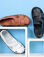 cheap -Men's Sandals Casual Beach Daily Water Shoes Walking Shoes Nappa Leather Breathable Non-slipping Wear Proof White Black Brown Summer