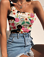 cheap -Women's Tank Top Floral Dog Animal Print One Shoulder Tops Slim Basic Streetwear Basic Top Black Blue Purple
