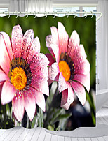 cheap -Pink Dew Flower Digital Printing Shower Curtain Shower Curtains Hooks Modern Polyester New Design