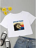 cheap -Women's Crop Tshirt Letter Animal Print Round Neck Tops Cotton Basic Basic Top White Black