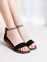cheap -Girls' Sandals Flower Girl Shoes Princess Shoes Suede Big Kids(7years +) Daily Rhinestone Buckle Black Summer