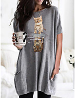 cheap -Women's T shirt Dress Cat Graphic Round Neck Tops Basic Basic Top Black Wine Army Green