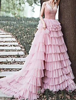 cheap -A-Line Luxurious Elegant Prom Formal Evening Dress V Neck Sleeveless Court Train Tulle with Tier 2021