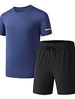 cheap -Men's T shirt Hiking Tee shirt with Shorts Short Sleeve Pants / Trousers Bottoms Clothing Suit Outdoor Quick Dry Lightweight Breathable Sweat wicking Autumn / Fall Spring Summer Ice Silk Haze blue