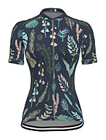 cheap -21Grams Women's Short Sleeve Cycling Jersey Spandex Dark Navy Floral Botanical Bike Top Mountain Bike MTB Road Bike Cycling Breathable Sports Clothing Apparel / Stretchy / Athleisure